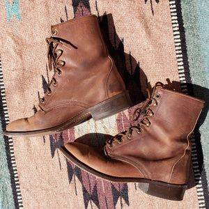 Brown leather lace up boots, vintage ankle boot